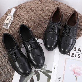 秋冬低帮英伦单鞋女加绒棉鞋显瘦软皮女鞋前系布洛克女
