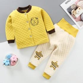 婴儿0-3岁三层加厚保暖内衣套装高腰护肚棉衣