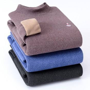 乔治高尔夫男圆领秋冬套头男式毛衣中年休闲打底针织衫
