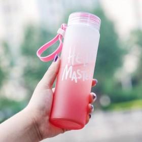 磨砂七彩杯玻璃杯耐热渐变色便携水杯 广告杯子礼品定