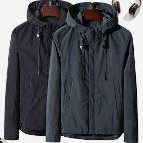 汤尼威尔秋季新款商务外套韩版男装纯色连帽夹克衫男