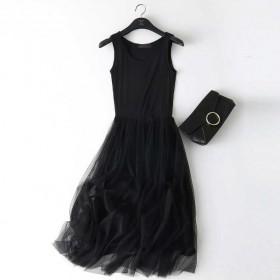 黑色打底连衣裙新款潮女秋装裙子中长款学生韩