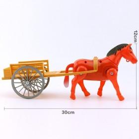 电动玩具马拉车礼物仿真小马走路的马儿童男孩马车旋转