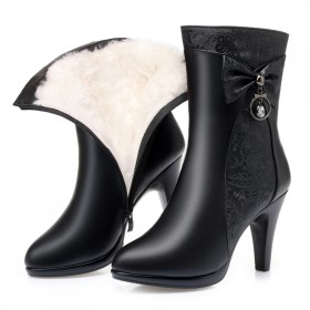 羊毛棉靴子女冬季新款中筒靴高跟加絨加厚中靴細跟女鞋