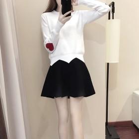2019韩版套装连衣裙甜美学院风V领宽松针织短裙