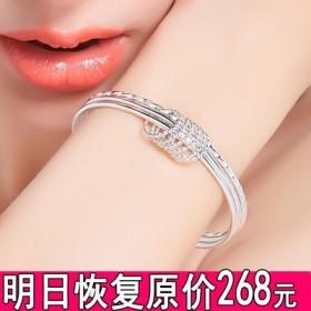 银手镯女纯银学生简约清新百搭手饰品网红森系个性时尚