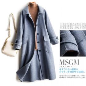 100%纯羊毛斜纹双面呢纯羊毛大衣女中长款外套