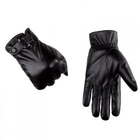 手套男冬新品户外运动骑车加绒秋冬季触屏皮手套 黑色