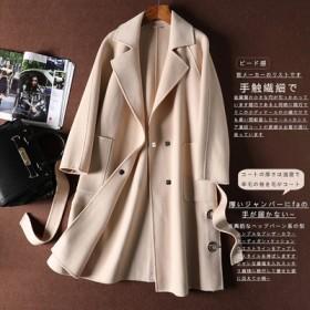 专柜品牌剪标女装手工双面呢大衣羊毛绒阿尔巴尔大衣女