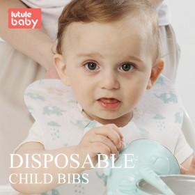 路途乐 婴儿一次性围兜宝宝免洗口水巾便携式防水吃饭