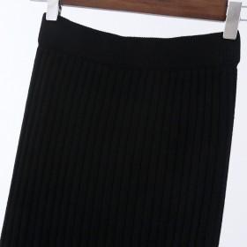 2019新款秋冬款半身裙开叉厚款坑条韩版时尚羊毛针