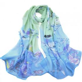 时尚喜庆秋季喜鹊长款丝巾 女 紫色围巾披肩两用