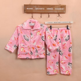 儿童法兰绒睡衣套装女童男童珊瑚绒睡衣宝宝睡衣
