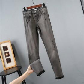 外贸单剪标大码女裤春秋款烟灰色弹力牛仔长裤小脚裤