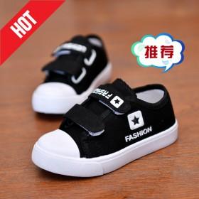 春秋韩版童鞋男童软底帆布鞋一脚蹬魔术贴女白色板鞋