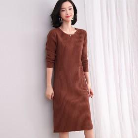 针织毛衣连衣裙女2019秋冬季圆领长袖修身显瘦