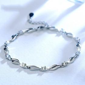 银镶钻水晶之恋手链纯银女925韩版简约个性甜美时尚