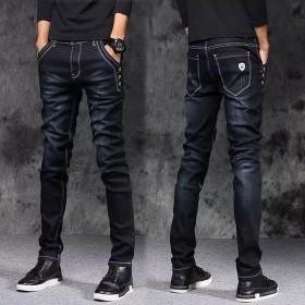 秋冬季黑色牛仔裤韩版小脚裤弹力修身长裤子加绒男裤