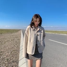 短款毛呢外套女小个子2019秋冬韩版