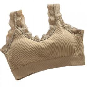蕾丝裹胸可拆卸胸垫防震女学生小吊无钢圈免后扣休闲美