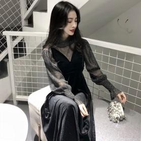气质女神范名媛减龄显瘦性感小黑裙银丝打底衫两件套秋