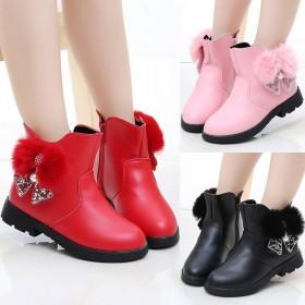 童鞋女童靴子棉靴秋冬靴宝宝皮加绒短儿童雪地靴女
