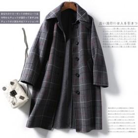 高品质秋冬新款中长款纯手工羊毛双面呢大衣外套女装