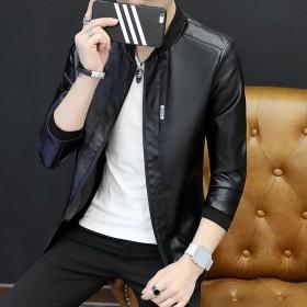 【加绒可选】秋季新款男士棒球领皮衣外套休闲时尚韩版