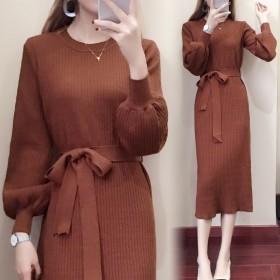 新款韩版系带连衣裙长款侧开叉灯笼袖过膝修身毛衣裙