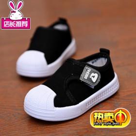 儿童帆布鞋春秋男童休闲童鞋女童软底板鞋魔术贴潮布鞋
