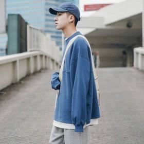 韩版假两件卫衣男情侣装宽松圆领日系上衣潮牌学生长袖