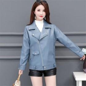 秋新款女士羊皮皮衣短款宽松时尚真皮夹克外套韩版大码