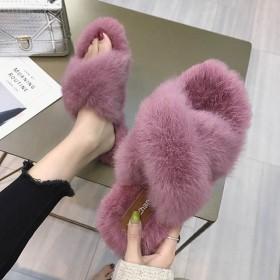 秋冬季真兔毛毛拖鞋韩版时尚外穿平底百搭社会交叉拖潮