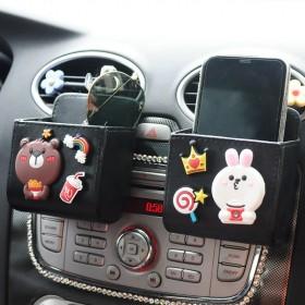 汽车出风口卡通置物袋手机收纳盒