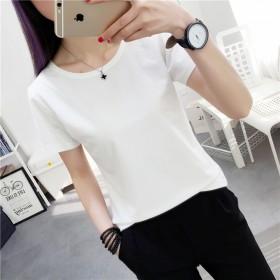 女士短袖白色宽松大码休闲新款恤女夏季色圆领t打底衫