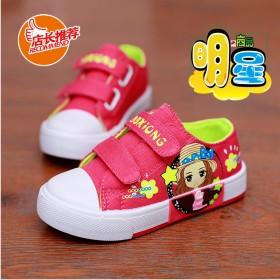 卡通儿童休闲童鞋春秋女孩帆布鞋软底韩版走秀潮板鞋