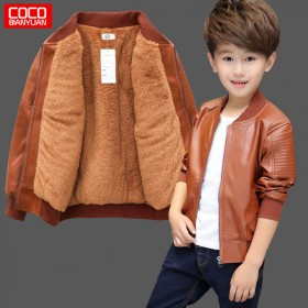 男童加绒皮衣夹克冬装外套宝宝秋装男孩上衣