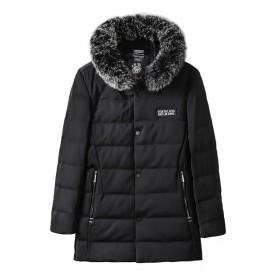 品牌剪标冬季90%白鸭绒狐狸毛领加厚休闲连帽羽绒服