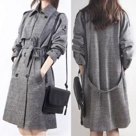 風衣女春秋外套韓版女裝中長款修身格子雙排扣大衣