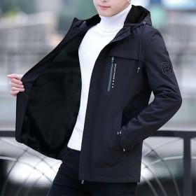 外套男夹克连帽秋冬装休闲青年男士中长款韩版外衣男装