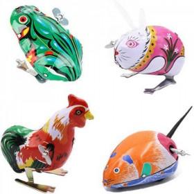80后经典传统怀旧铁皮青蛙兔子公鸡老鼠玩具儿童上链