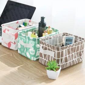 清新棉麻带提手桌面杂物筐收纳盒