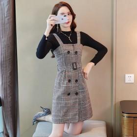 秋冬季新款女装清新甜美格子复古背带连衣裙