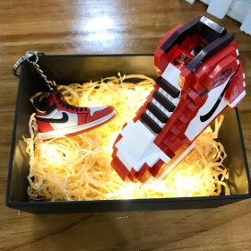 aj积木鞋兼容乐高拼图篮球鞋模型拼装玩具生日礼物
