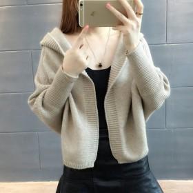 短外套毛衣新款女長袖寬松帶帽針織衫早秋冬開衫厚蝙
