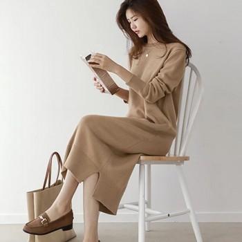 加厚毛衣女韩版慵懒风宽松打底过膝中长款套头毛衣裙