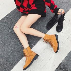 英倫風高幫鞋厚底百搭真皮短靴中筒平底馬丁靴女