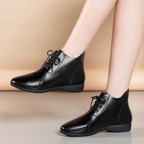 软底妈妈短靴女秋冬季新款加绒棉鞋舒适平底系带鞋女鞋