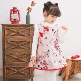 女童旗袍秋冬加绒中国风拜年服宝宝女儿童唐装连衣裙