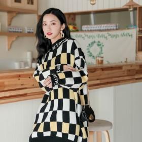 潮款新款韩版宽松格纹慵懒风套头毛衣百搭中长款上衣女